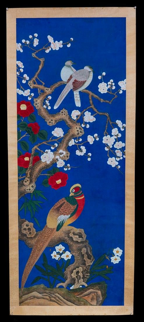 Chinese Qing watercolor painted on blue rice paper