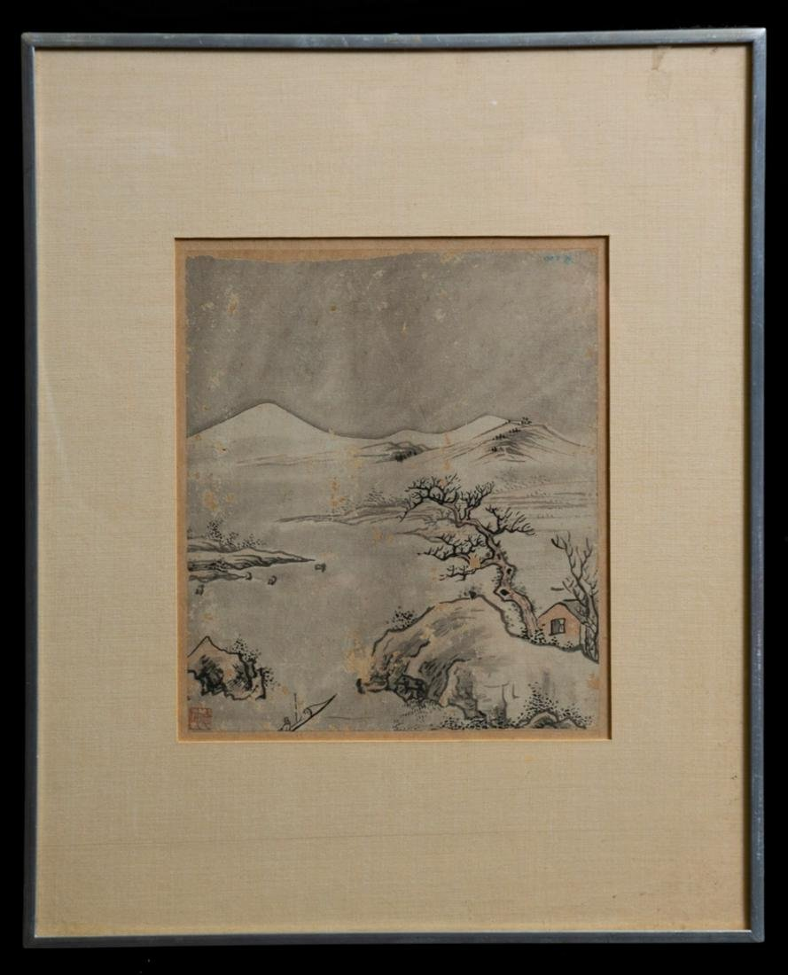 Chinese framed Qing watercolor painted on rice paper