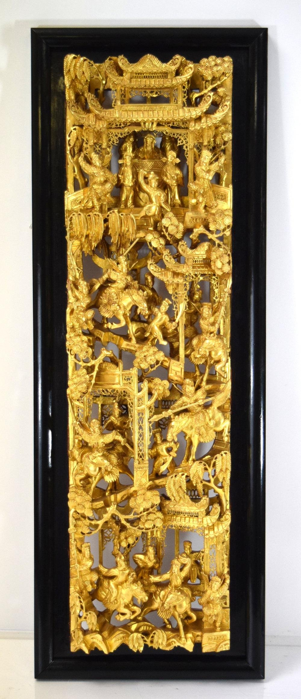 Very Elaborate 19th C. Chinese Gold Gilt Wood Carving