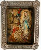 Antique Spanish Colonial retablo on tin of St Bernadett