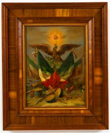 Old Mexican oil on board patriotic painting.