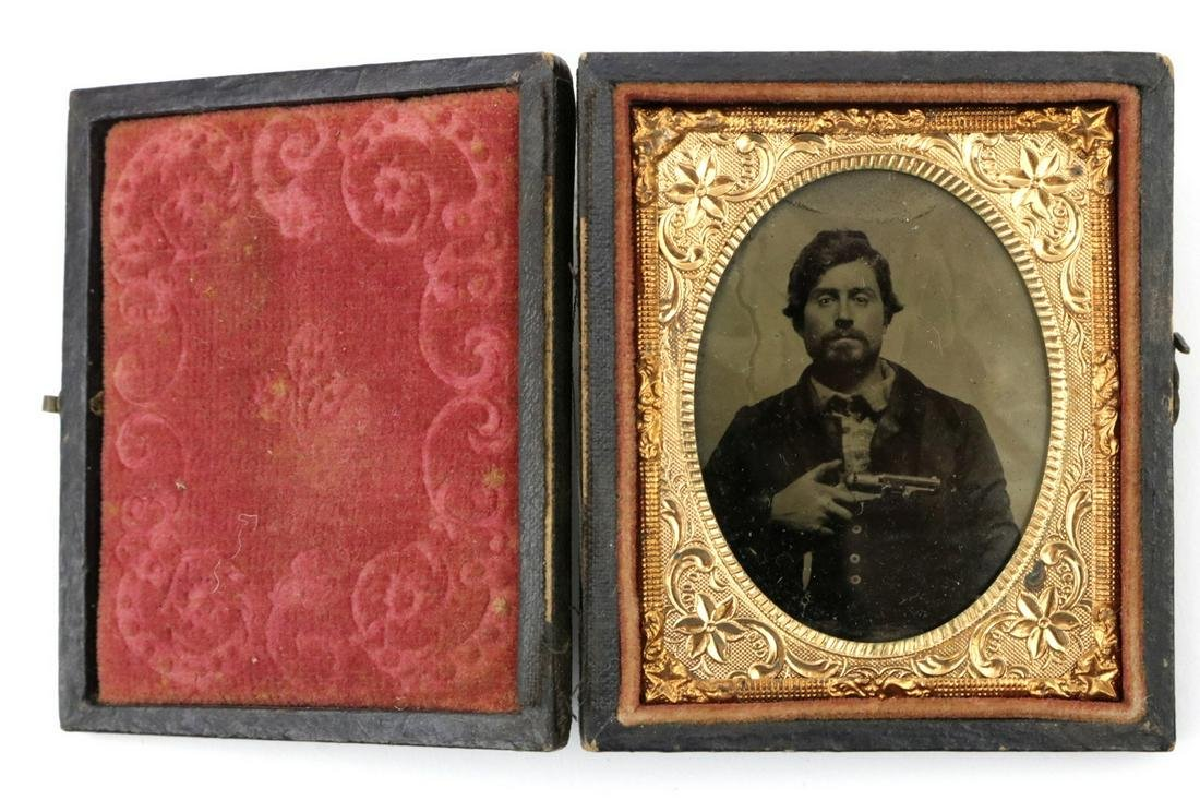 A Very Clear 1/9 Plate Tintype Image of an American