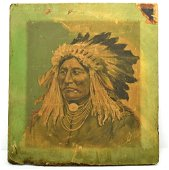 Very rare antique oil on canvas Indian Chief painting