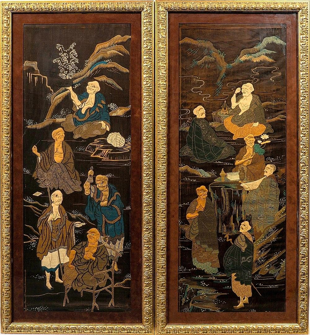 Pair of 19th C. Large Japanese Embroidery Tapestry