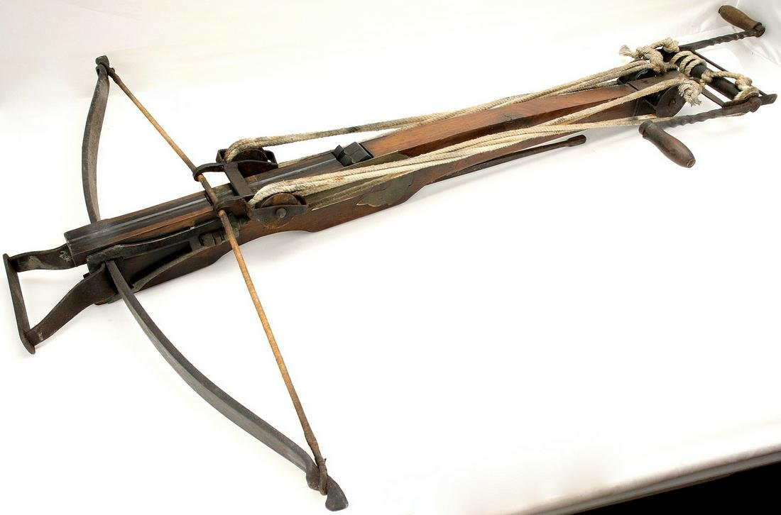 HUGE 18th C. German Wall Crossbow with Original