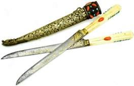 Fine 18th-19th C. Turkish Jeweled Double-Kard Dagger