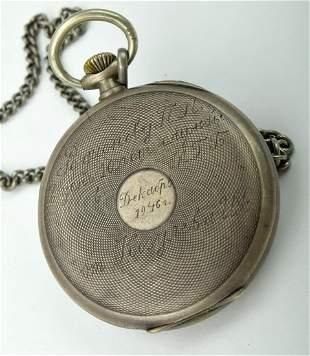 Fine rare 800 silver Tissot pocket watch. Watch