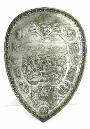 Very Ornate Victorian Iron Shield in the 16th C. Parade