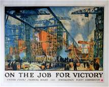 """Original WWI Poster """" On The Job For Victory """" By Jonas"""