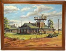 Oil Painting Of WW2 US Base Operation Camp