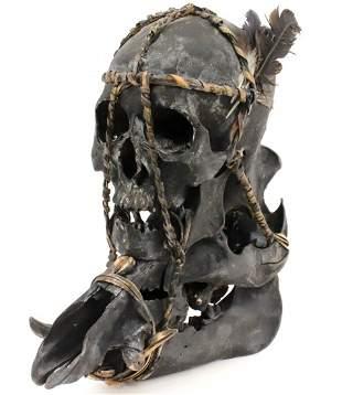Impressive Museum Display of Indonesian Dayak Headhunte