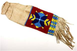 American Indian Soft Leather & Bead Work Large Pouch ~