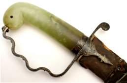 Rare 18th C. Mughal Indian Shamshir Sword with Green