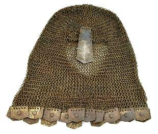 Unusual 17th-19th C. Moghul Indian COIF Chain Mail Head
