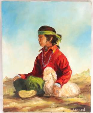 Lovely Oil Painting of an American Native Indian Boy...