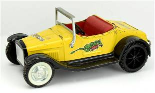 Vintage Nylint Ford Car Hot Rod Yellow Roadster Steel