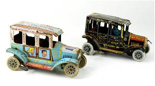 Pair 1950's Marx Old Jalopy Tin Lithographed Wind Up