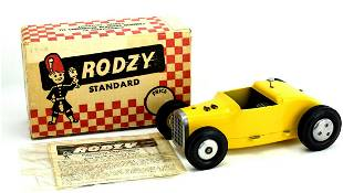 A CAMERON RODZY TETHER CAR WITH MOTOR AND ORIGINAL BOX