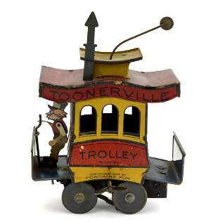 Vintage 1922 Toonerville Trolley Tin Windup Toy by