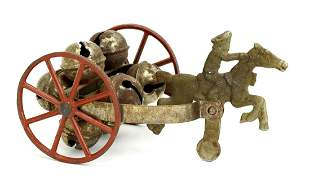 ANTIQUE CAST IRON PAUL REVERE ON HORSE BELL PULL TOY