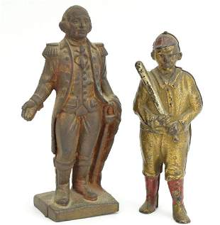 2 Original Antique Cast Iron Banks