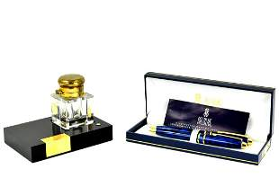 VINTAGE MONTBLANC MEISTERSTUCK CRYSTAL INKWELL AND BILL
