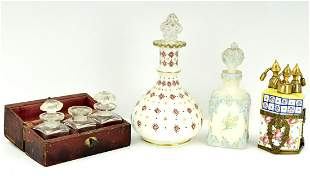 VICTORIAN ENGLISH OR FRENCH PORCELAIN TOILETRY BOTTLES
