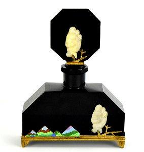 1930's Czechoslovakian black crystal perfume bottle