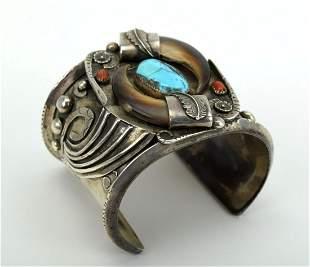 Native American Navajo Silver Turquoise Coral Cuff