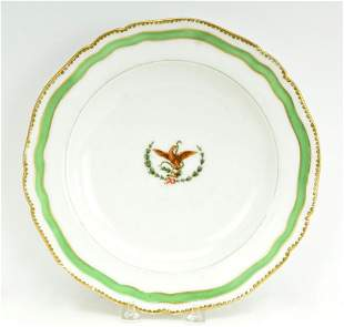 Rare Antique Coat Of Arms Mexico China Dinner Plate