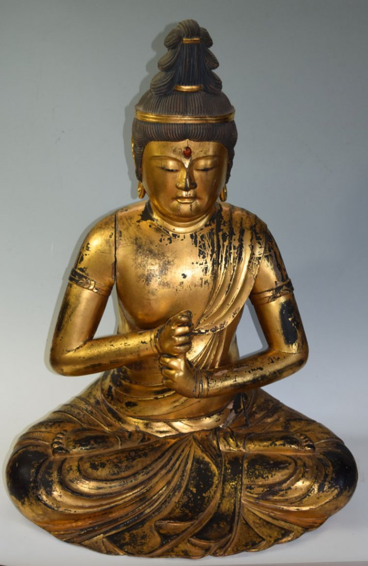 Large Early 19th Century Asian Wood Gilded Buddha