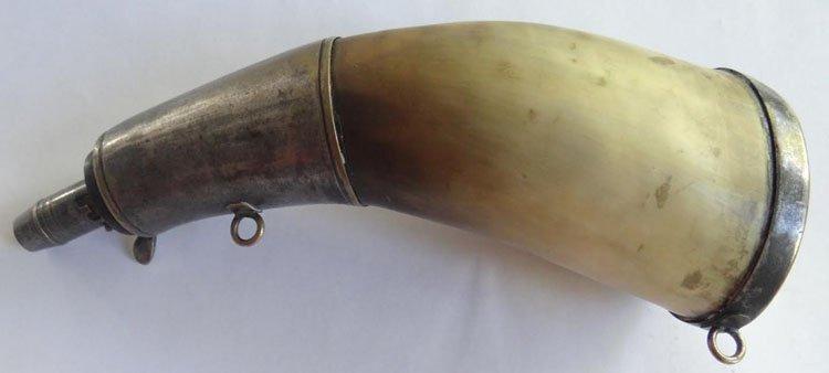 Civil War Navy Silver Mounted Powder Horn - 3