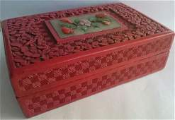 Chinese Cinnabar Lacquer Box with Jade and Agate
