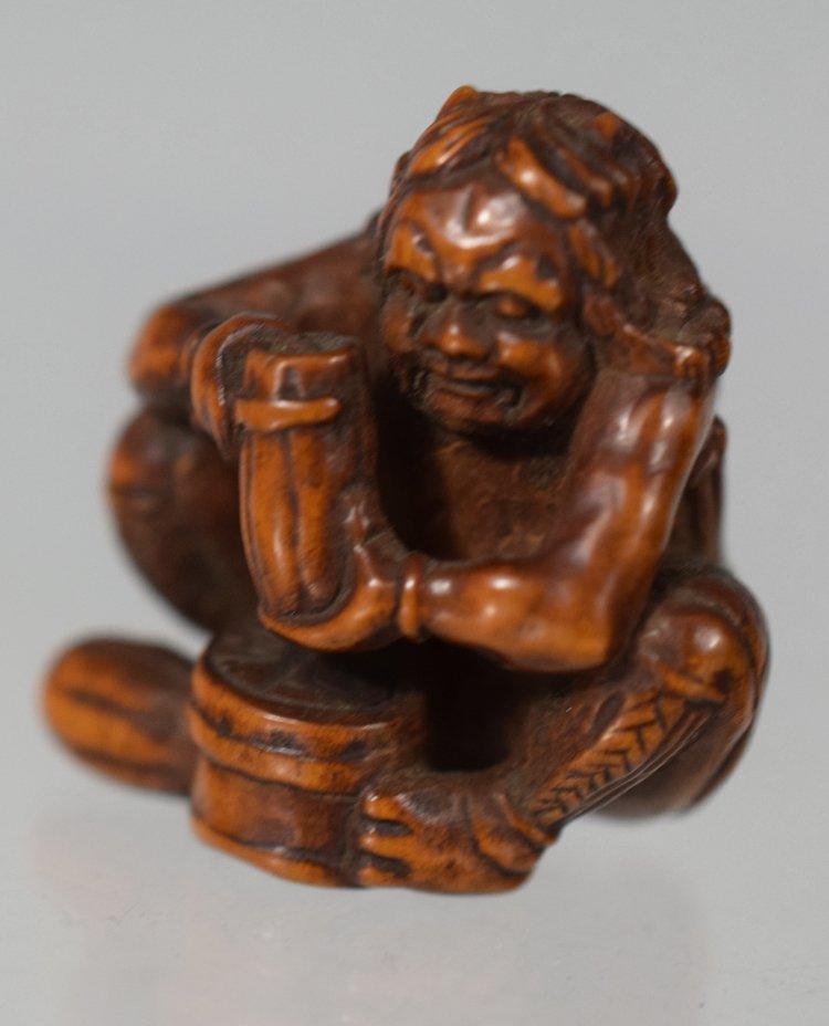 Antique Japanese Edo period wood carved Oni netsuke