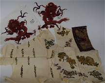 Qing Dynasty Group of Chinese Silk Embroidery