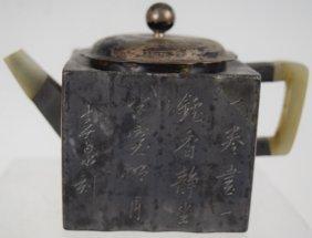 Chinese Jade And Pewter Encased Yixing Teapot