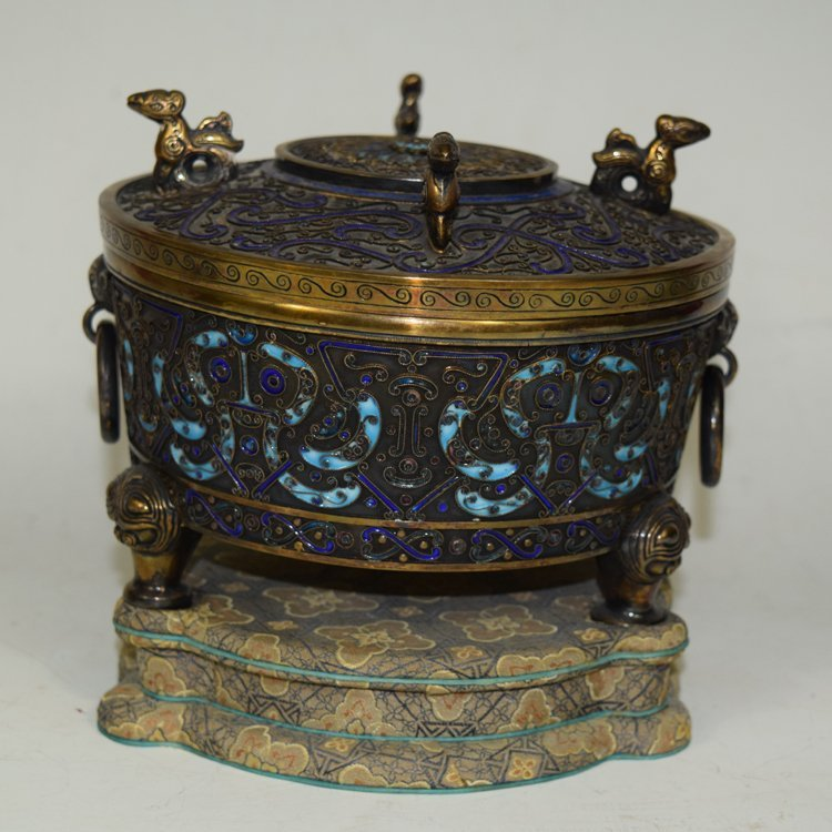 Antique Chinese Silver Enameled Burner, Box