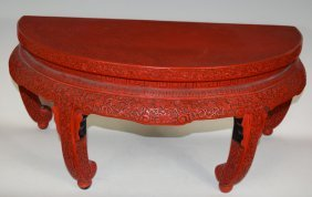Antique Chinese Cinnabar Lacquer Carved Table