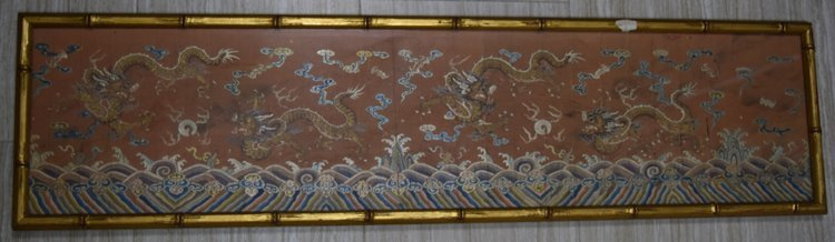 Chinese Silk Embroidered Dragon Design Panel