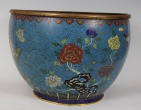 Large 19th Century Chinese Bronze Enameled Bowl