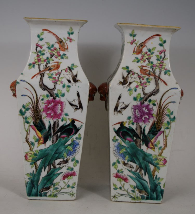 Pair of 19th Century Chinese Square Porcelain Vases