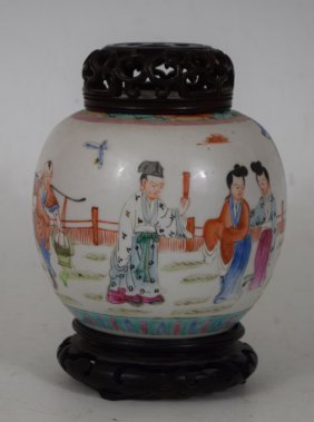 Chinese 19th Century Porcelain Jar With Top