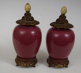 Pair Of 19th Century Red Chinese Porcelain Vases