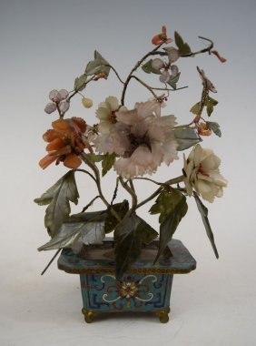 Chinese Carved Jade Tree In Cloisonne Footed Plant