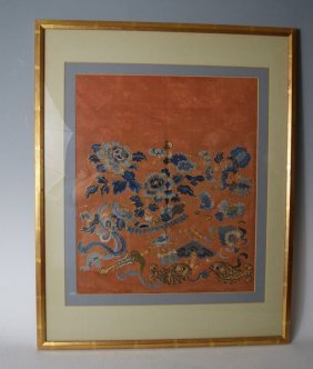 Chinese Early 19th Century Silk Embroidery Panel