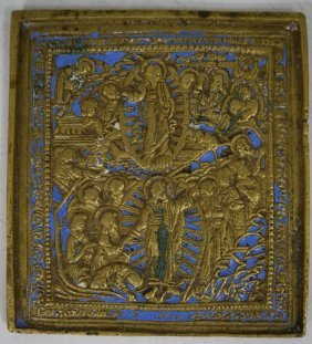 18th C. Russian Bronze And Enameled Travel Icon