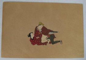 Meiji Period Japanese Erotic Watercolor Painting