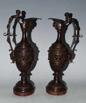 Pair Of 19th C. French Bronze Ewers