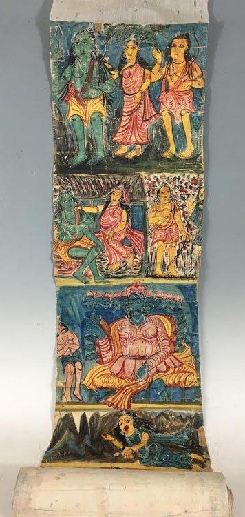 19th C. Cheriyal Indian Handpainted Narrative Scroll