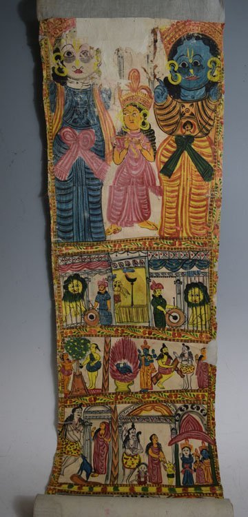 19th C. Cheriyal Indian Handpainted Narrative Scroll